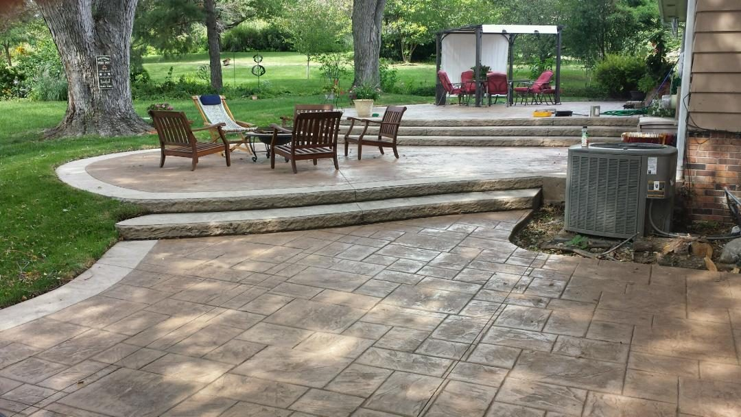 3-tiered stamped patio