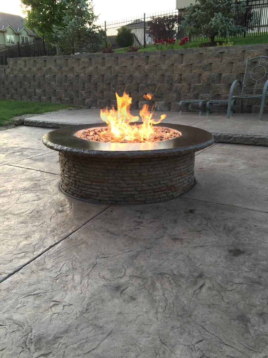 Gas Fire Pit With Stamped Two Level Patio Omaha S Moore